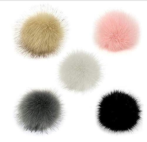 Iyhouse 5 Stück 10 cm Kunstfell flauschige Pom Pom Ball mit elastischer Kordel abnehmbare Strickmütze Zubehör für Wolle Strickmütze Beanie Ski Winter Cap