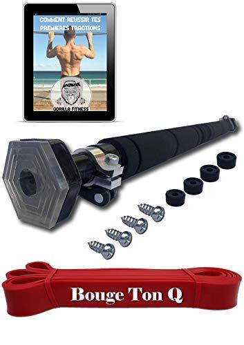 Gorilla Fitness™ | Klimmzugstange Tür mit oder ohne Schrauben + Gummiband + gratis EBOOK | Klimmzugstange an der Tür, Wandbefestigung | feste Stangen aus Stahl, Training Pull Ups, Dips
