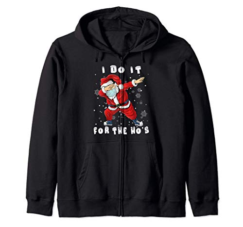 I Do It For The Hos Dabbing Santa Claus Christmas Kids Boys Zip Hoodie
