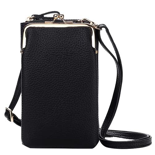 Bolso de la Mujer pequeña Crossbody, Billetera del teléfono Celular, Gran Capacidad de Grano de Color sólido PU Bolsa de Hombro, Bolso de la Moda, Conveniente para Las Mujeres (Black)