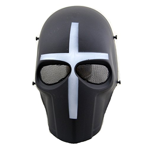 ATAIRSOFT Softair Maske Full Face Paintball Hockey BB Schutzhülle Mesh Maske weiß Kreuz