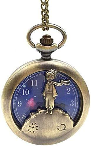 NC83 Vintage Classic Cute Planet Blue Bronze Der kleine Prinz Taschenuhr Anhänger Halskette für Quarz Herren Damen Kinder besten Geschenke