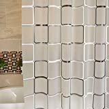 Mosie Duschvorhang, wasserdicht, quadratisch, mit entsprechenden Haken, Schwarz / Weiß