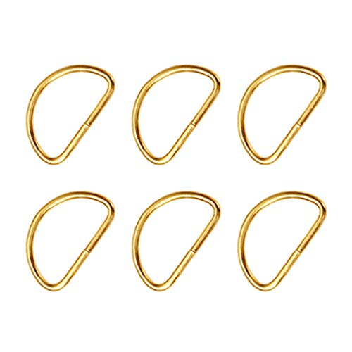 HEALLILY 20 Piezas de Metal con Hebilla de Anillo en D Semicircular Anillo en D Anillos de Metal para Diy Hardware Bolsas de Equipaje Accesorios (Dorado)