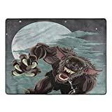 Wolf Area Rug for Bedroom Night Skyline Werewolf Area Rug for Boys Girls Kids Living Room Home Decor Floor Carpet 6 x 9 Ft