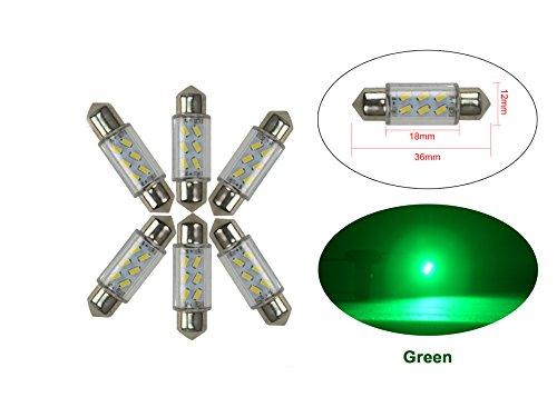 NJYTouch 6 X 36mm 6SMD 3014 211 Vert Festoon Dôme Carte Intérieur Ampoules LED