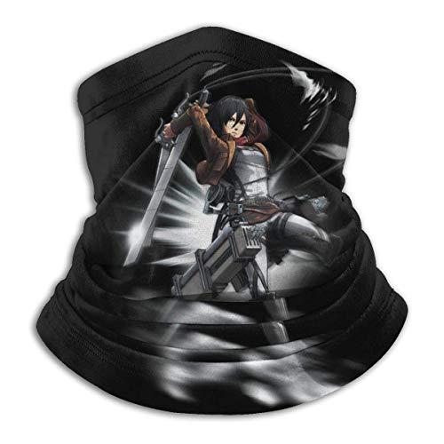 gxianyuyib Angriff auf Titan-Mikasa Ackerman Mikrofaser Halswärmer Schal Weiche elastische Männer Frauen Fleece Gesicht Bandana Cover für Snowboard Wintersport