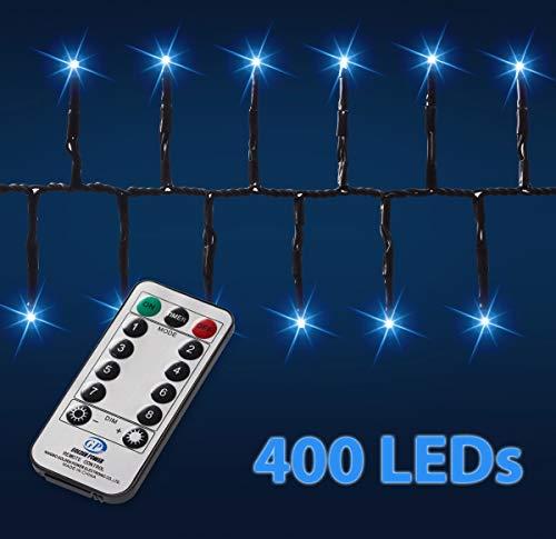 400-er LED-Galaxie-Lichterkette   8 Leuchtmodi   Fernbedienung   Timer   dimmbar   Innen und Außen   dekorative Weihnachtsbeleuchtung   Büschellichterkette - Cluster (kaltweiß)