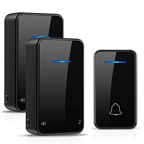 [No necesita batería] Timbre inalámbrico exterior IP55 impermeable a 200 m de alcance con 2 receptores, 7 niveles de volumen, 48 cajas de música para casa, oficina, hote