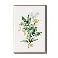 キャンバスプリントウォールアート画像水彩植物ポスターとプリント北欧緑の葉ウォールアートキャンバス絵画リビングルームの家の装飾-A_30X45Cm_No_Frame