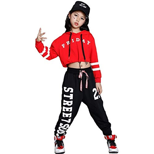 LOLANTA Mädchen Mordern Jazz Dance Outfit Kinder Street Dancewear Hoodies Pop Dance Kostüm