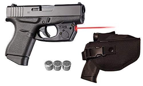 Laser Kit for Glock 42, 43 & 48 Pistols w/Tactical Holster, Touch-Activated ArmaLaser TR5 Red Laser Sight & 2 Extra Batteries