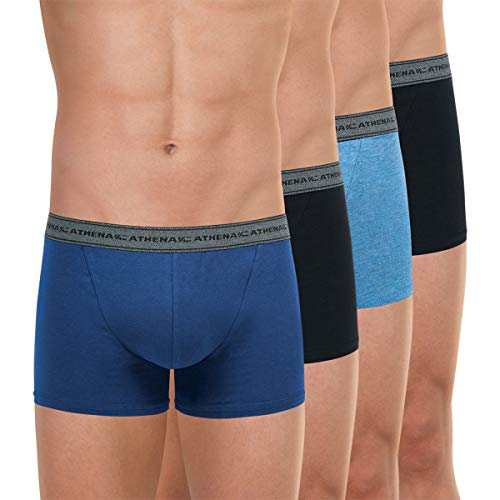 Athena Herren Boxershorts Basic Coton 4-er Pack, Mehrfarbig (Bleu/Noir/Bleu/Noir), XL (Herstellergröße: 5)