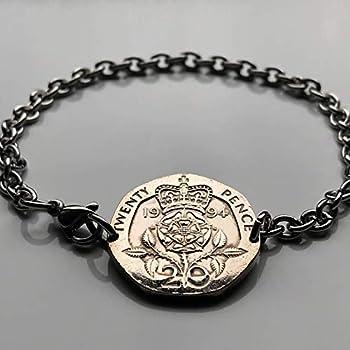 1984 England United Kingdom 20 Pence coin bracelet English Tudor Rose Lancaster York Somerset Bath Taunton War of the Roses British jewelry London Manchester Sheffield Liverpool Leeds b000046