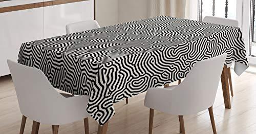 ABAKUHAUS En Blanco y Negro Mantele, Laberinto Laberinto, Fácil de Limpiar Colores Firmes y Durables Lavable Personalizado, 140 x 200 cm, En Blanco y Negro