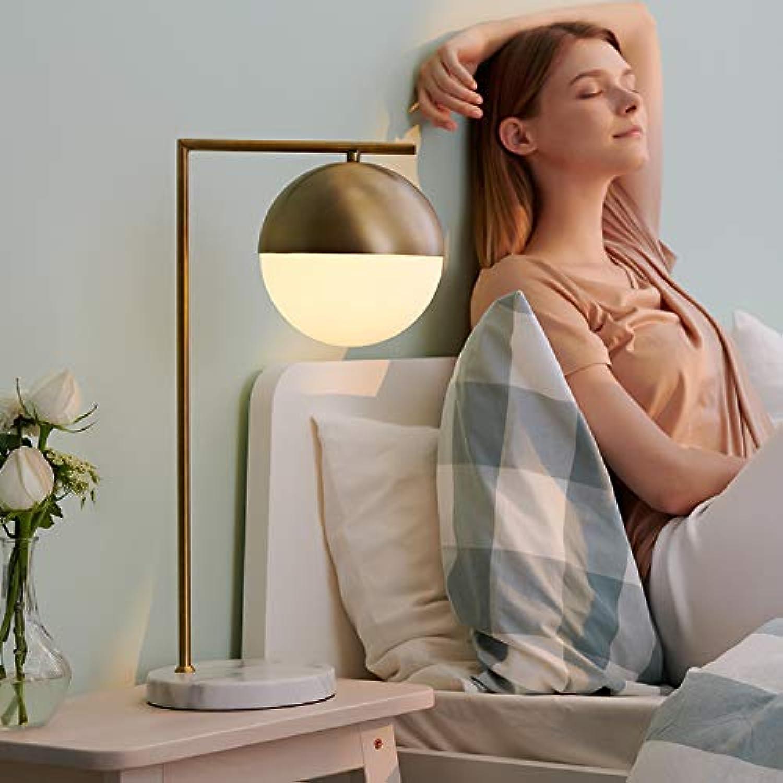 YHUJH Home Nordic Tischlampe Schlafzimmer Nachttischlampe Wohnzimmer Studie einfache Moderne amerikanische Marmor Messing Glas Nachttischlampe B07K5R3BGT | Trendy