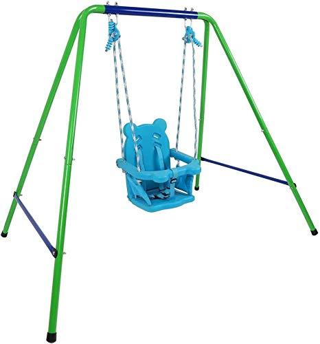 Saltador Columpio Bebe Puerta Set de Swing de Securador Secure Blue Blue Plegable con Asiento de Seguridad Interior/Juego de oscilación al Aire Libre para el Regalo de bebé/Chirldren Bebé Centros