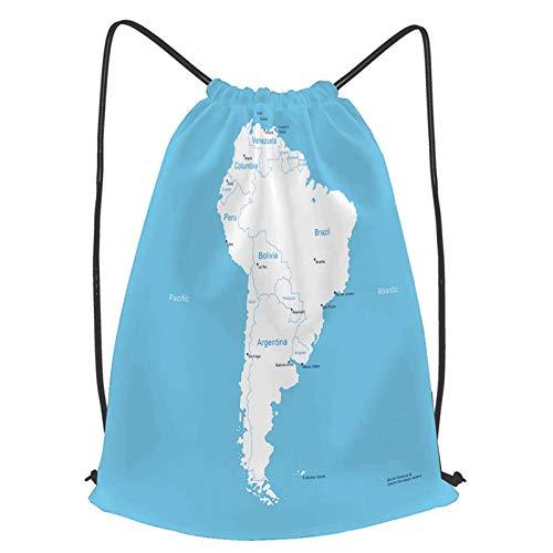 fudin Impermeable Bolsa de Cuerdas Saco de Gimnasio Colombia Mapa Isométrico América Del Sur Paraguay Quito Deporte Mochila para Playa Viaje Natación