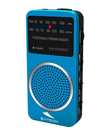 Radio Am FM Estereo de Bolsillo, Altavoz, Auriculares, Azul (sytech)