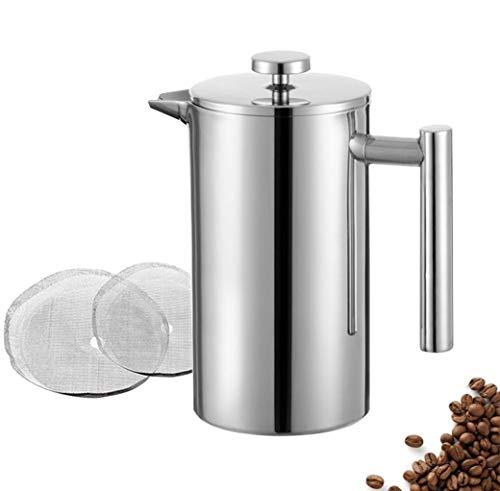 MeelioCafe Kaffeebereiter French Press 1,5 Liter Edelstahl (10 Tassen), Thermo Kaffeebereiter doppelwandig isoliert, Kaffeepresse Klein 1500ml mit 2 Extra Sieben, C0ffee Press
