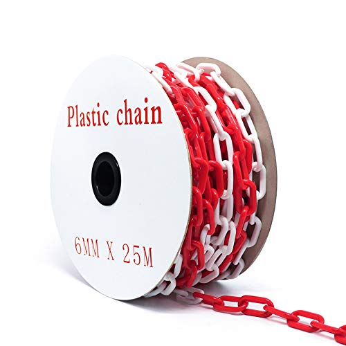 82 Foot Plastic Chain Safety Barrier Plastic Links UV Protected Chain Reel Caution Security Chain for Crowd Control Queue Line Door Driveway Construction Site Garage Industrial Kids Safety Blocker