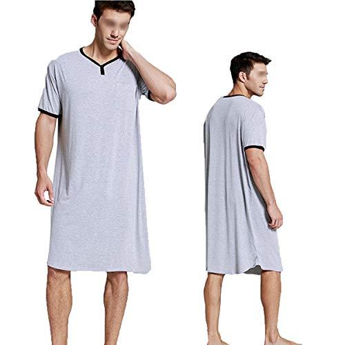 Herren-Nachthemd, Baumwolle, kurzärmelig, V-Ausschnitt, locker, bequem, Nachtwäsche...