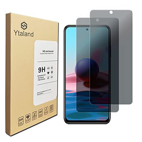 Ytaland Protector de pantalla de privacidad para Xiaomi Redmi Note 10 (no para Xiaomi Mi Note 10), [2 unidades] antiespía antipeep antiburbujas vidrio templado sin burbujas