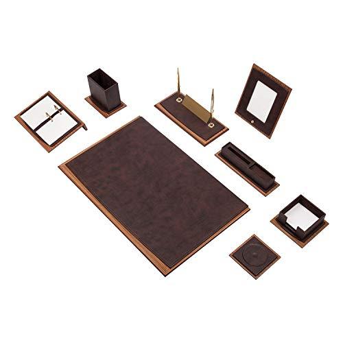 Luxuriöses Star 11 tlg Büro-Schreibtisch-Set, Büro-Tisch-Unterlage mit personalisierte Namensschild aus Holz-Leder in 5 Farben, Farbe:Braun