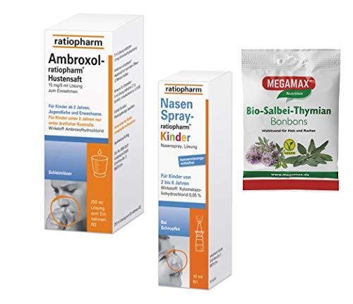 Kombipackung Ambroxol Hustensaft Ratiopharm 250ml inkl. abschwellendes Kinder Nasenspray Ratiopharm 10 ml + 1 Beutel 50 g MEGAMAX Bio Salbei Thymian Bonbons