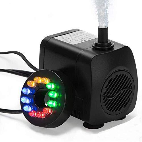 HOTSO - Mini bomba de agua sumergible con luz LED, 12 colores, 10 W, bomba de fuente de acuario, ultrasilenciosa, 450 L/H para terrarios, acuarios, pescado, sistemas de circulación, estanque (negro)