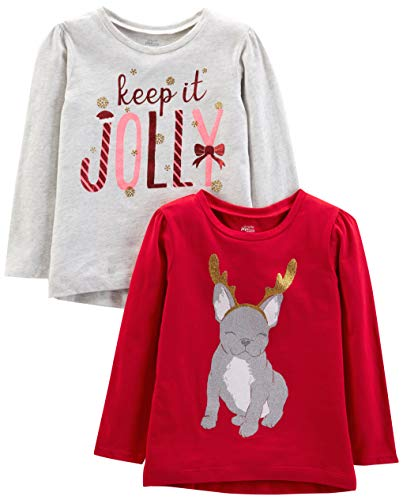Simple Joys by Carter's Girls' Toddler 2-Pack Christmas Long-Sleeve Tees, Dog/Jolly, 5T