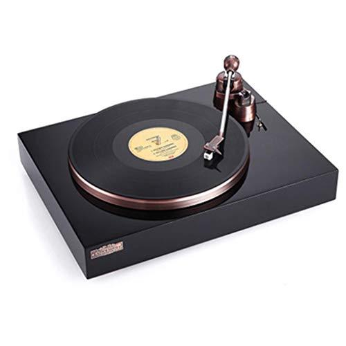 Plattenspieler moderner Vinyl-Grammophon-Musik-Player, 33/45/78 mit DREI Geschwindigkeiten, eingebauter Lautsprecher, USB-Anschluss, externer Audio-Player, schwarz