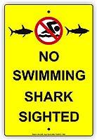 水泳サメの目撃された超耐久性のあるブリキの看板レトロなバーの人々の洞窟カフェガレージ家の壁の装飾看板8x12インチ
