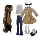 EVA BJD Set di modo copre Parrucche Scarpe Calzini Accessori Set completo per 1/3 21-23inch 60 centimetri BJD Dolls (Sandy)