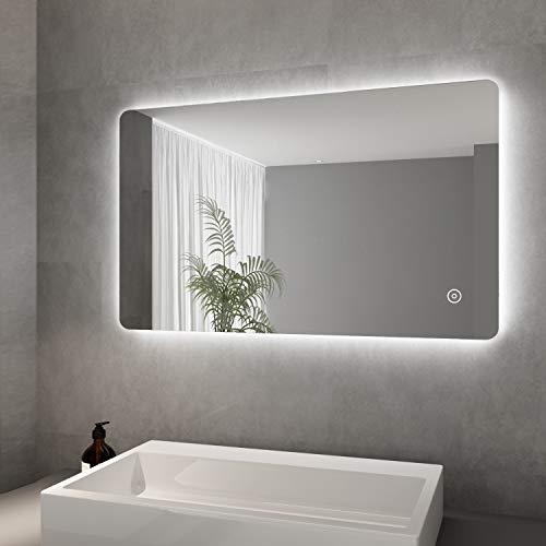 Elegant LED Spiegel mit Beleuchtung Badspiegel 100 x 60 cm kaltweiß IP44 Badezimmer Wandspiegel Energiesparend Beschlagfrei Badezimmerspiegel