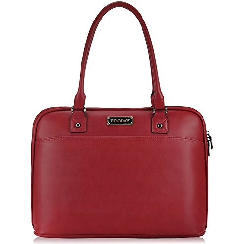 15.6 Inch Laptop Bag for Women,Full Zipper Open Laptop Tote Bag,Big Work Business Briefcase,Red
