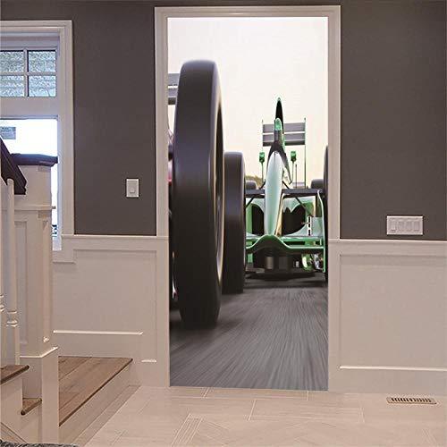 Deur muurschildering sticker 3D DIY renovatie behang vintage half bedekte houten deur raceauto huis decoratie binnendeur foto verwijderbaar zelfklevend 77x200cm