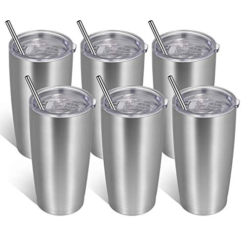 VEGOND 20oz Tumbler with Lid and Straw Stainless Steel Tumbler Cup Bulk Vacuum Insulated Double Wall Travel Coffee Mug Powder Coated Coffee Cup(Stainless 6 Pack)