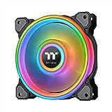 Thermaltake Riing Quad 140mm 16.8 Million RGB Color (Alexa, Razer Chroma) Software Enabled 4 Light Rings 54 Addressable LED 9 Blades Hydraulic Bearing Case/Radiator Fan, Single Pack, CL-F089-PL14SW-C