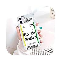 折慢boringFor iPhone 12 11 ProMaxケース用透明エアチケットケースFor iPhoneXR X XS Max 12 Mini SE 2020 7 8 6S 6Plusソフトカバーコック用-W217-For iPhone XR