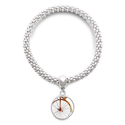 DIYthinker Damen Altertümlich Fahrrad High Wheeler Britannien Sliver Armband Laufende Anhänger Schmuck-Kette