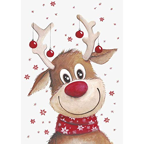 5d Diamond Painting Kits for Adults Kids,Full Diamond Embroidery Rhinestone Cross Stitch Arts Craft Reindeer 11.8x15.7 in by Megei