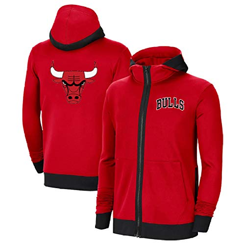JesUsAvila Hombre Chaqueta de Baloncesto de Manga Larga Informal con Cremallera Chicago Bulls Bordada con Capucha Z/Rojo/L