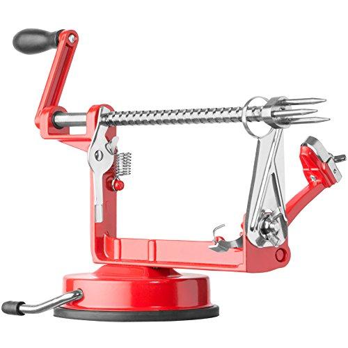 TecTake Apfelschneider Apfelschäler Apfelentkerner 3 in 1 | -Diverse Farben- (Rot | Nr. 401545)