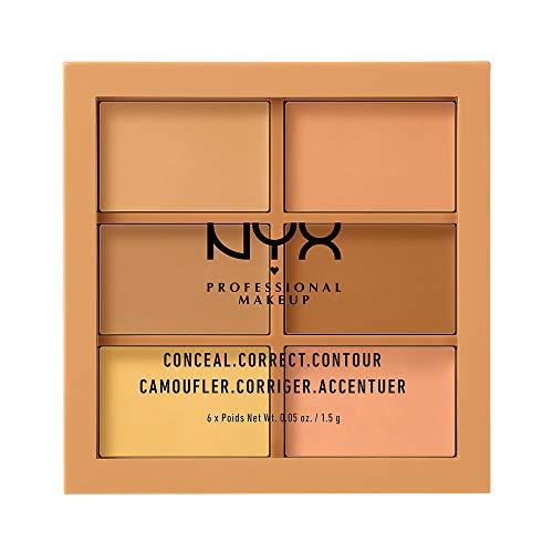 NYX Professional Makeup Paleta de correctores y contouring Conceal, Correct, Contour Palette, 6 sombras, Textura cremosa, Tono: Medium
