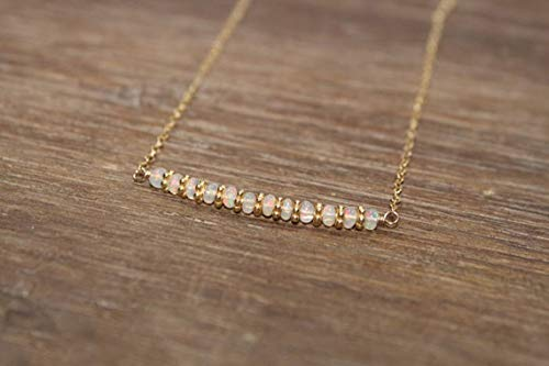 Natural Ethiopian Opal Necklace, Vermeil or Sterling Silver Bali Beads, Beaded ,Bar Necklace, Opal Jewelry, October Birthstone 3-3.5 mm Rondelle Smooth 16 inch Gemstone Necklace