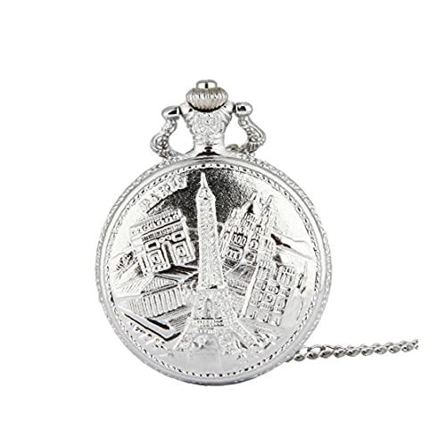 FeelMeet Cuarzo Reloj de Bolsillo Reloj de Bolsillo Retro Unisex analógica Personalidad patrón Torre Multi Bolsillo de la Vendimia anaglifo Uso Reloj de Plata 1pc L
