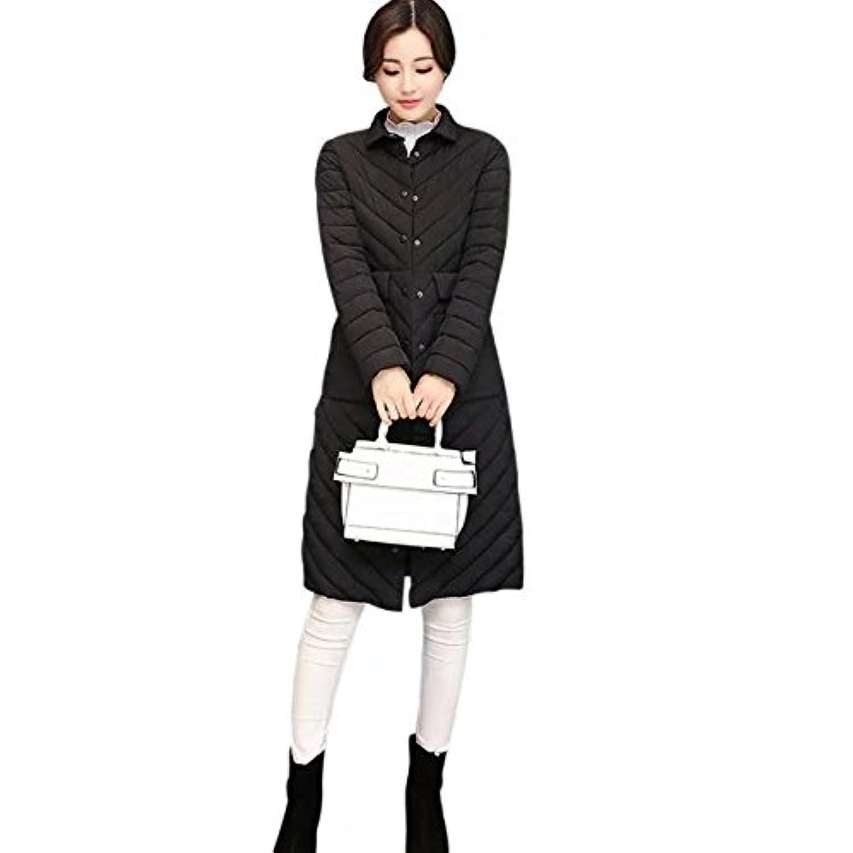 BOXUAN冬 ダウンジャケットロング 中綿コートレディース アウター 軽量 防風 防寒 細身トップス シンプル 女性用 通勤通学 綿入れ アウトドア 暖かい ロング コート