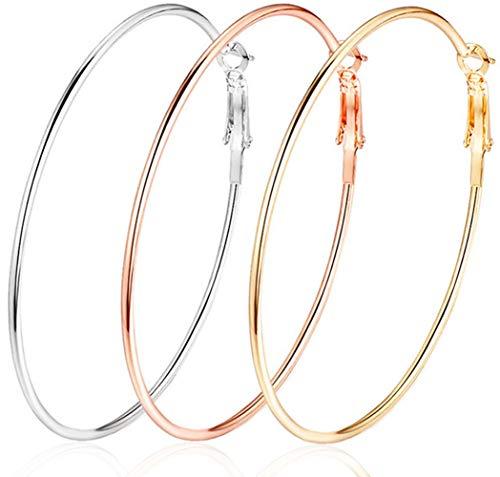 3 Pairs 60mm Big Hoop Earrings,Stainless Steel Hoop Earrings 14K Gold Plated Rose Gold Plated Silver Hoops for Women Girls,Hypoallergenic (3 Colors Set)