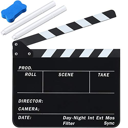 Film Clapboard 12 x 9.5 Inches Acrylic Movie Directors Clapboard Cut Action Scene Slate Studio Video Film Clapper with 2 Pieces White Ink Erasable Pen and Blackboard Eraser for Scene Shot Supplies